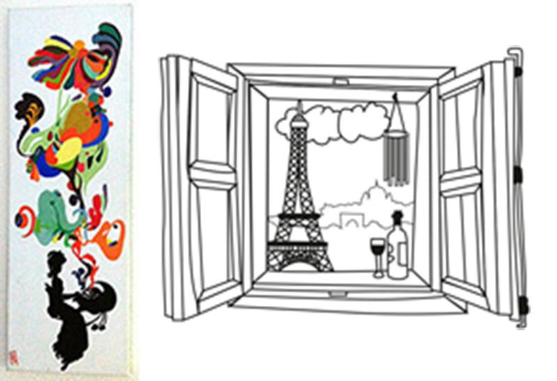 Pintura en lienzo con Acrílico y dibujo derecho Vectorial